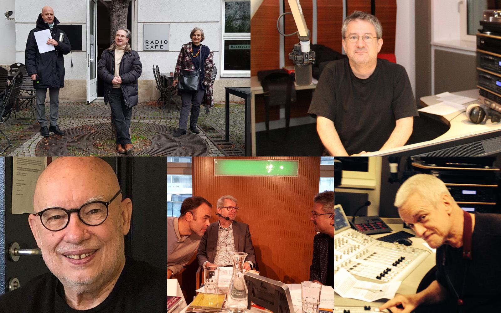 In front of the Radiocafe: Albert Hosp, Helmut Jasbar, Renate Burtscher, Dennis Russell Davies, Helmut Jasbar with Gerhard Sammer and Klex Wolf, Wolfgang Puschnig